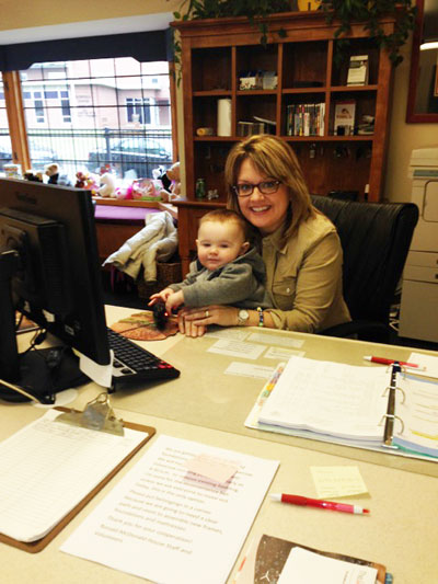 Woman and Child at Desk